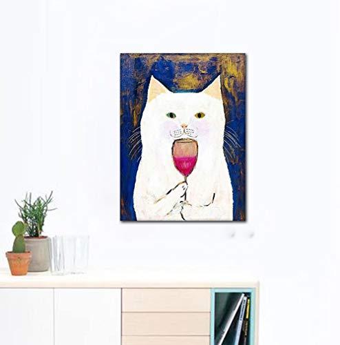 wZUN Wandkunst Leinwand Malerei Bild HD druckbare Home Decor Cat Flavored Wine Nordic Poster Minimalismus 50x75 Rahmenlos