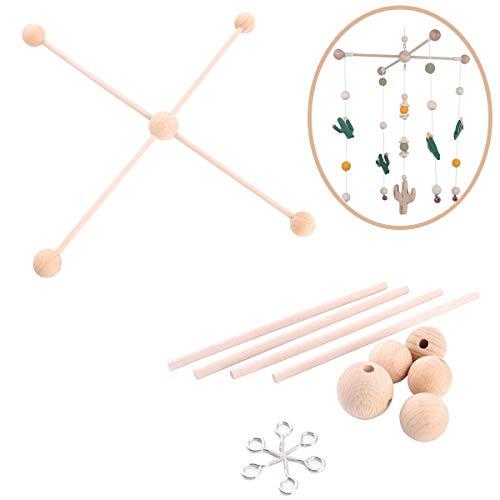 baby tete Baby Natürlich aus Holz Mobile Kleiderbügel, Mobiles Kit Krippe,Mobile Hängenden Rahmen Bett Dekoration Spielzeug
