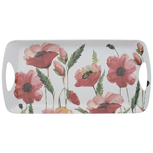 "Creative Tops ""Watercolour Poppy"" melamine dienblad met decoratieve opdruk, 38,5 x 20 cm (15″ x 8″) – wit/rood"