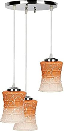 NMII Orange Color Curve Shape Pendant Ceiling Lamp Set of Three Lamp Hanging in One Fitting Colorful & Hand Decorative.