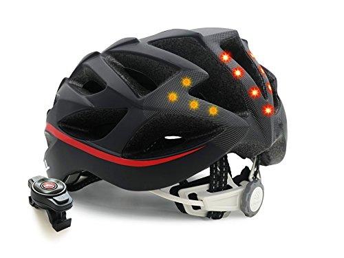Livall Unisex– Erwachsene BH62 Musik, Rücklicht, Blinker, Navigation, Anruffunktion und SOS-System Fahrradhelm, schwarz/Rot, 55-61cm