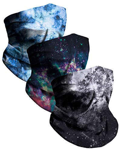 Galaxy Breathable Neck Gaiter Half Face Cover Cool Skiing Mask Bandana Festival Rave Balaclava Scarf INTO THE AM (3 Pack)