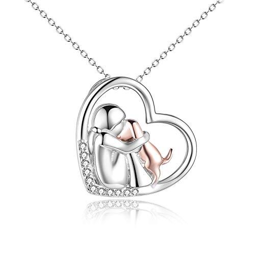 YFN Collar de plata de ley con colgante de perro de oro rosa para niñas y niñas, diseño de perro...