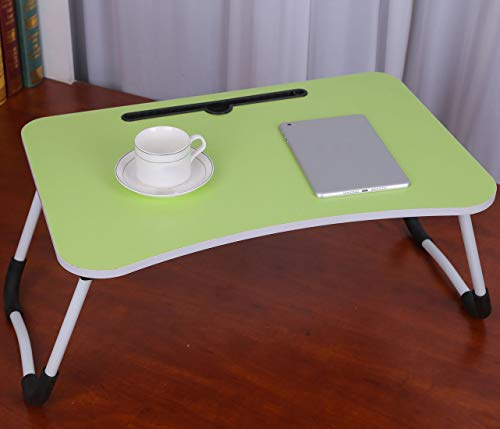 Scrivania Portatile per Laptop, Supporto per Laptop Pieghevole, Scrivania per Studio in Dormitorio, Scrivania da Letto, Scrivania Semplice, Design con Slot per Schede Green