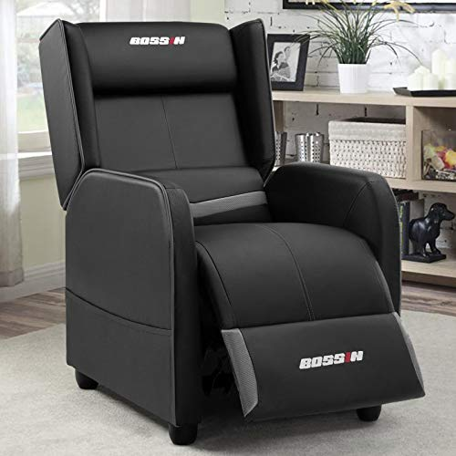 BOSSIN Gaming Recliner Chair Single Recliner Sofa PU Leather Recliner Seating Sofa Ergonomic Lounge Recliner Chair Home Movie Theater Seating Sofa for Living Room(Gray)