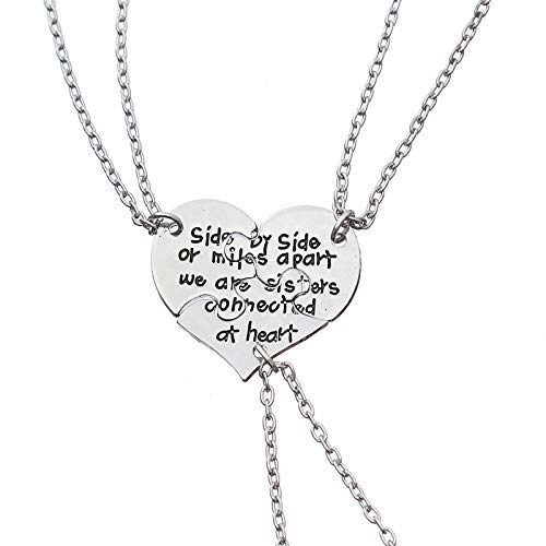 3 collares para hermana con texto en inglés 'Side by Side Or Miles Apart We Are Sisters Connected At Heart