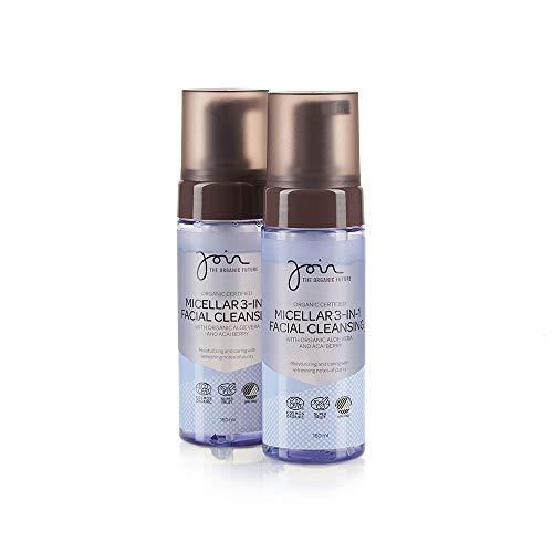 Join - Biozertifizierter mizellarer 3-in-1-Gesichtsreiniger mit Olivenextrakt und Acaibeeren - Packung mit 2 Flaschen à 75 ml.