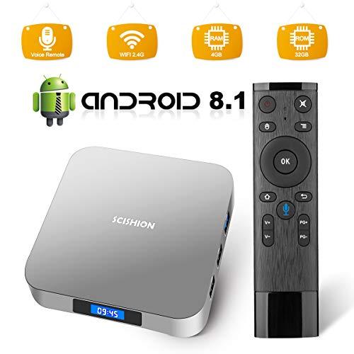 Android 9.0 TV Box, RK3328 Quad Core 64bit 4GB DDR3 32GB eMMC Memory Smart TV Box with Bluetooth 4.0 WiFi Ethernet HDMI HD 4K Media Player Set Top Box