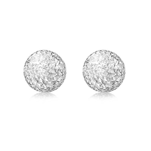 Carissima Gold Women's 9 ct White Gold 8 mm Diamond Cut Ball Stud Earrings