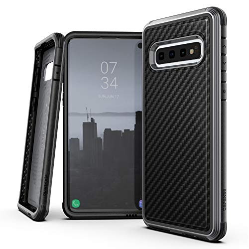 Raptic Lux, Samsung Galaxy S10e (Formerly Defense Lux) - Military Grade Drop Tested, Anodized Aluminum, TPU, and Polycarbonate Protective Case, Samsung Galaxy S10e (Black Carbon Fiber, Samsung S10e)
