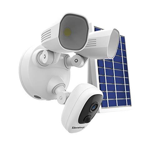 Ellecutteyi Floodlight Security Camera Surveillance Indoor Outdoor Solar Wireless Security Surveillance Camera Cloud Storage Motion Weatherproof Audio Home Monitor Camera Monitor