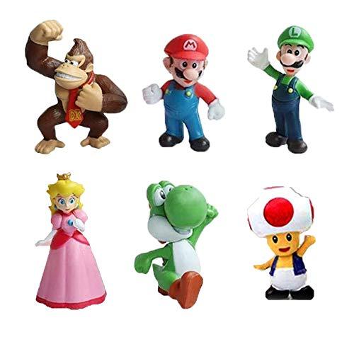 Figuras de Super Mario 6PCS Mario Bros Mini Figuras Decoración para Tarta de Cumpleaños de Mario