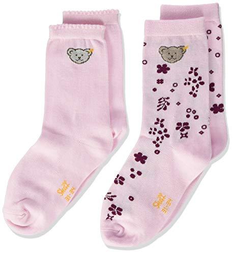 Steiff Baby-Unisex mit süßer Teddybärapplikation Socken 2er Pack GOTS, Rosa (Barely Pink 2560), 034
