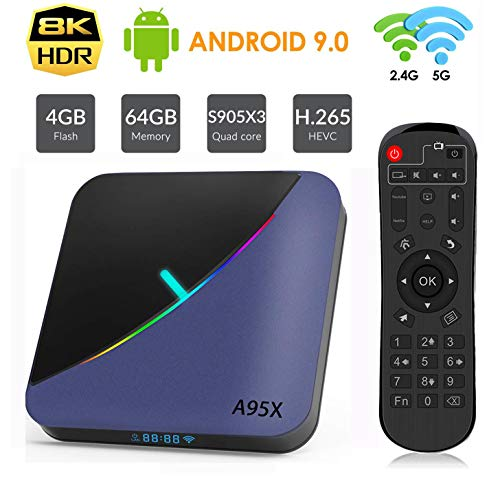 OKEU A95X F3 Android 9.0 TV Box【4G+64G】 Bluetooth 4.2 Quad-Core Cortex-A55 Amlogic S905X3 USB 3.0/2.0 Box Android TV LAN10/100M Wi-FI 2.4G/5G Box TV 4K Android Smart TV Box