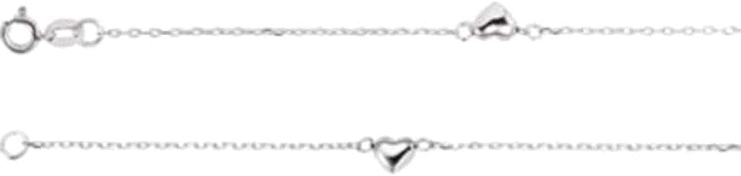 .75 mm Diamond Cut Cable Anklet with Hearts in 14k White gold