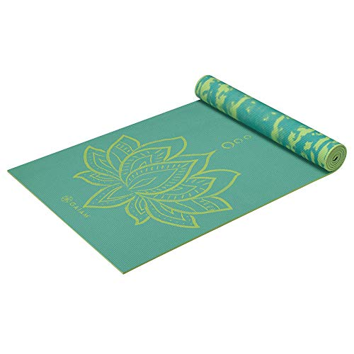 Gaiam Print Premium - Esterilla de yoga reversible (6 mm), color turquesa