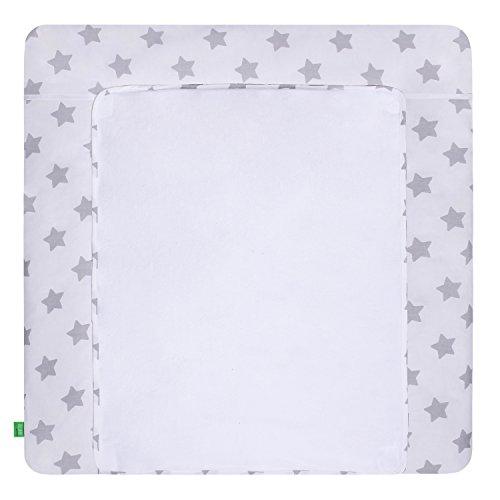 LULANDO Wickelauflage mit 2 abnehmbaren und wasserundurchlässigen Bezügen. 76 x 76 cm. Oberstoff 100% Baumwolle. Passend u.a. für die Kommode IKEA Malm, Grey Stars/White