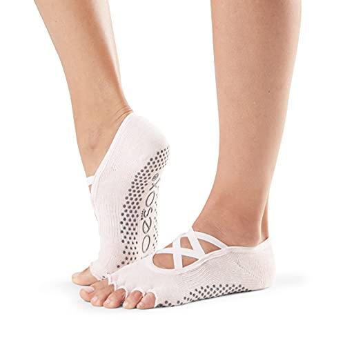 ToeSox Women's Elle Half Toe Grip Socks, Ballet Pink, Medium