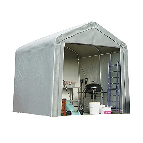 Garden Gear Portable Shed/Garage for Storage, Heavy Duty Galvanised Steel Frame, Extra Strong Waterproof Weatherproof Triple Layer Woven Polyethylene Cover with Apex Roof (6ft x 6ft)