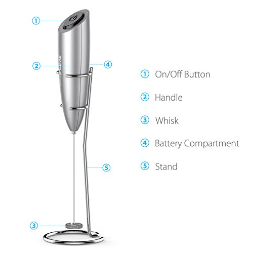 SIMPLETASTE Milk Frother Handheld for Bulletproof Coffee,Cappuccinos and Latte with Stainless Steel Whisk and Stand, Batteries Included