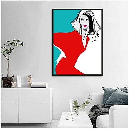 YHJK Arte en Lienzo Mujeres en Vestido Rojo Carteles e Impresiones Abstractos de Moda Imágenes Decorativas de Arte Pop Decoración de Dormitorio 70x90cm sin Marco