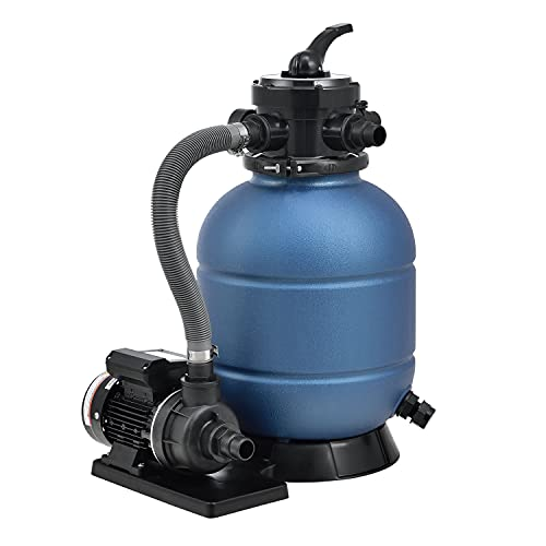 Juskys Sandfilteranlage PSFA20A 10 m³/h – Pool Filteranlage mit 4-Wege Ventil, Druckanzeige & 23 kg Sand-Tank - Ø 32/38 mm - Poolfilter Poolpumpe Sandfilter