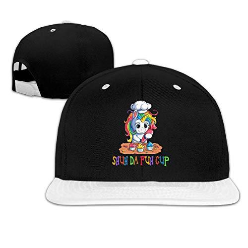 LLALUA Shuh Duh Fuh Cup Hip Hop Snapback Baseball Hat Adjustable Mens White