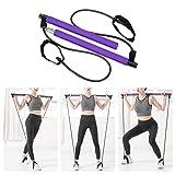 Pahajim Tragbares Pilates-Stangen-Set mit Widerstandsband, für Yoga, Pilates, Körperformung, Pilates-Stange, Hipsline mit Fußschlaufe