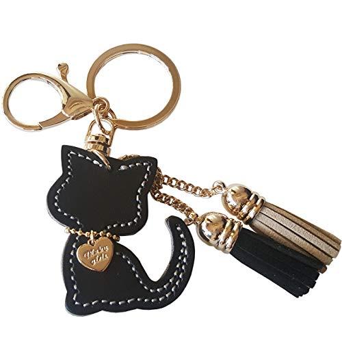猫キーホルダー 牛革 バッグチャーム イタリア製本革 ハンドメード 手作り 誕生日 プレゼント (ブラック)