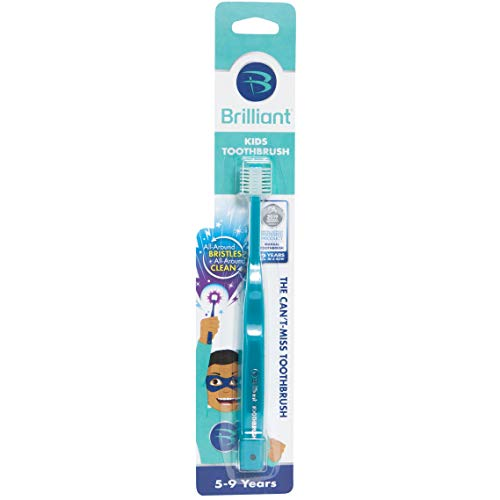 Brilliant Kids Toothbrush Ages 5-9 Years - When Adult Teeth Appear - Bpa Free Super-Fine Micro Bristles Clean All-Around Mouth, Kids Love Them, Teal, 1 Count