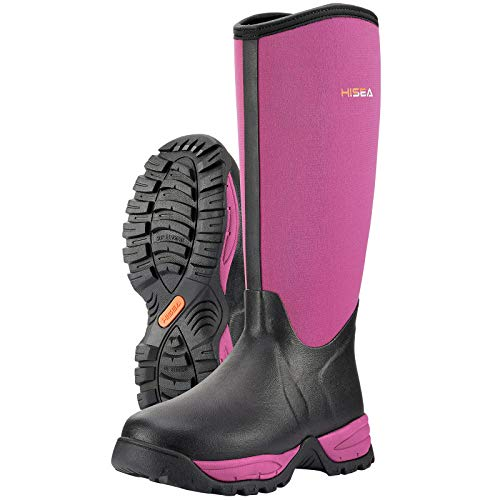 winter rubber boots HISEA Women's Winter Boots Arctic Snow Tall Boots Rubber Neoprene Working Boot High Performance Waterproof Insulated