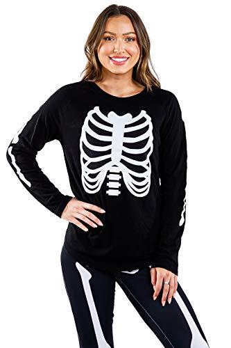 Women's Long Sleeve Skeleton Shirt – Skeleton Halloween Costume: M