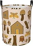 Cesto de lavandería circular de seta de estaca de madera marrón Contenedor de organizador de cesta de almacenamiento redondo