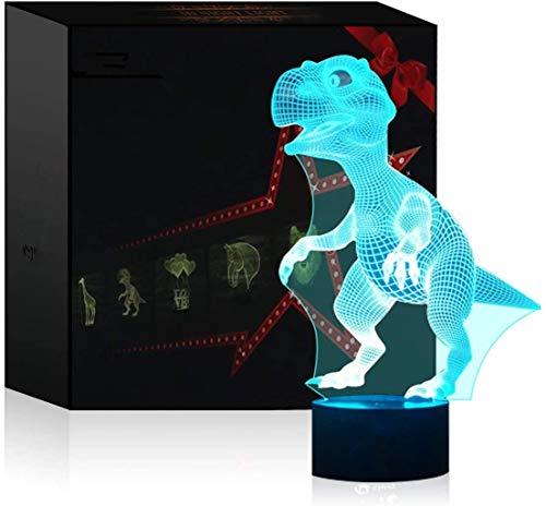 Lámpara de ilusión óptica 3D Lámpara de noche LED, lámpara de mesa de escritorio de 7 colores Luces de escultura de arte LED para niños con cable USB y control remoto - Regalos perfectos (dinosaurio)
