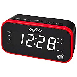 Jensen JEP-150 AM/FM Band Clock Radio with Weather Alert, Multicolor