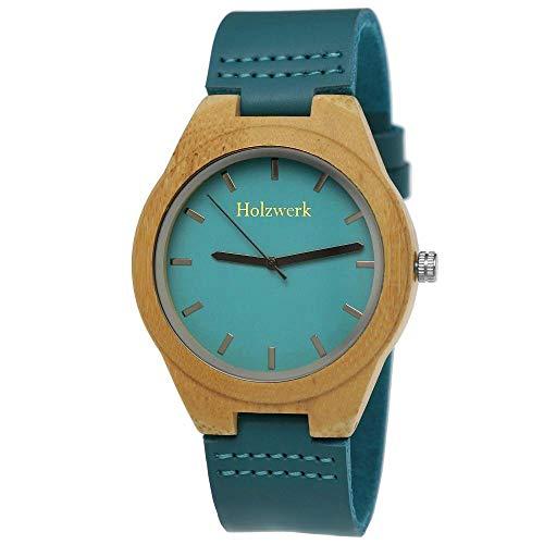 Handgefertigte Holzwerk Germany® Designer Damen-Uhr Öko Natur Holz-Uhr Leder Armband-Uhr Analog Klassisch Quarz-Uhr in Blau Türkis