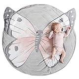 Krabbeldecke für Baby, Schmetterling Krabbeldecke Kinder Spieldecke Baumwoll Weicher Teppich Kissen Runde Decke