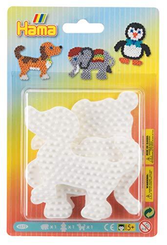 Hama 4572 Elephant, Penguin & Dog pegboard Blister Pack Stiftplatten klein für Midi Perlen, Elefant, Pinguin und Hund, 3er Set, bunt, Einheitsgröße