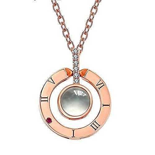Rose Gold & Silber Projektion Anhänger Halskette Romantische Liebesgedächtnis Hochzeit Schmuck