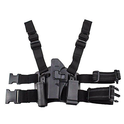 JINJULI Quick Release Tactical Left Hand Leg Belt Drop Leg Holster Pouches for Glock