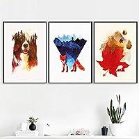 北欧のポスターと版画森の犬キツネカエデの葉動物抽象壁アートキャンバス絵画リビングルームの装飾のための壁の写真-(50X70cm)X3フレームなし