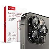 [3 Pcs]Protector Camara iPhone 12 Pro, Baytion Protector de Lente de Aleación de Aluminio de 360 Grados [Resistencia al Rayado] [Color Original] - Grafito