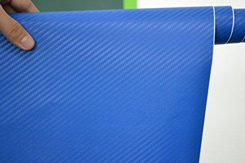 3D Carbon Fibre Textured Car Wrapping Vinyl Gadget Various Colours 50CMx 1.52M (BLUE)