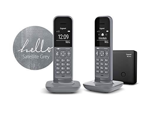 Gigaset CL390A Duo 2 schnurlose Design-Telefone mit Anrufbeantworte (DECT Telefone mit Freisprechfunktion, großem Grafik Display, leicht zu bedienen mit intuitiver Menüführung) satellite grey