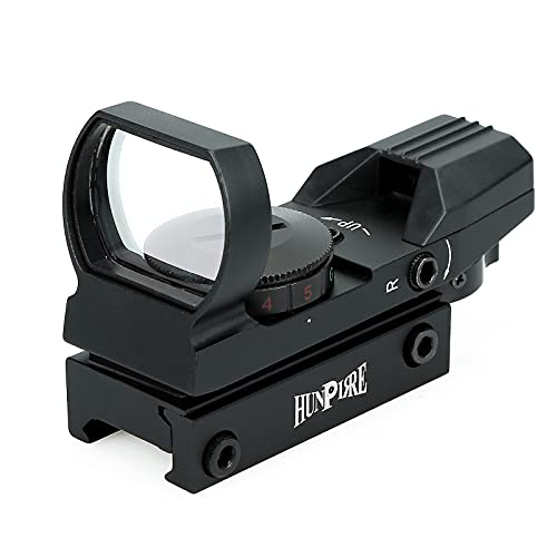 HUNPIRRE Green Red Dot Sight, 1X22X33 Gun Reflex Sight Scope with 4 Adjustable Reticles for Rifles and Handguns (1X22X33)