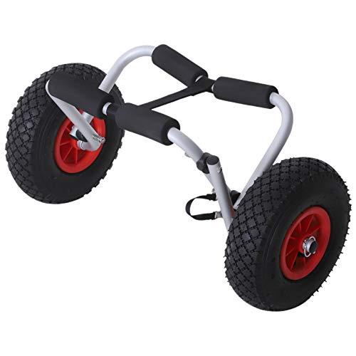 homcom Carrello per Kayak Pieghevole Pneumatici 25cm Adatto a Tutte Le Superfici Max 60kg Alluminio 60x30x37cm