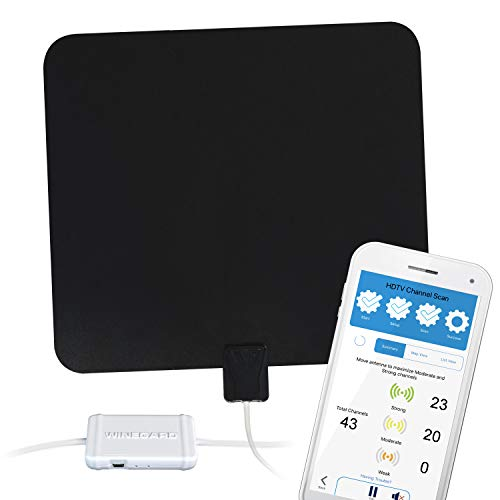 Winegard Flatwave Amped Pro HDTV antena interior con medidor de señal Bluetooth