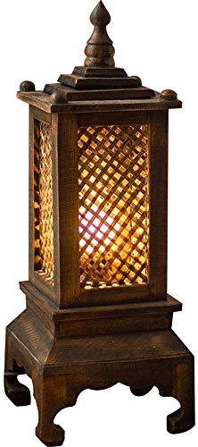 Liunce Retro Bambus Handgemachte Tischlampe Südost Einfache Asiatische Art-Schreibtisch-Lampe Kreative Massivholz Restaurant Thai Dekorative Schlafzimmer Nachtlicht Edison E27