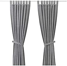 IKEA Cotton Solid Pattern, Grey - Pair Curtain Panels