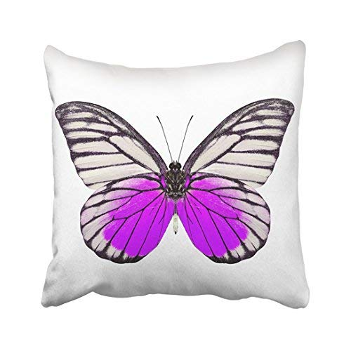 Funda de almohada de 16 x 16 x 16 colorida y hermosa mariposa morada blanca de color de primer plano, linda funda de almohada de algodón con diseño de insectos voladores, fundas de cojín cuadradas decorativas para sofá, accesorios para el hogar, regalos de 20 x 30 cm